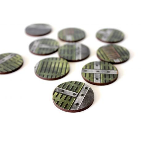 32 mm Industrial X10 - Pre Painted Bases ( 40k , AoS, Infinity , Malifaux, Warlord Games)