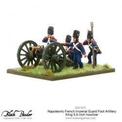 Napoleonic French Imperial Guard Foot Artillery howitzer firing
