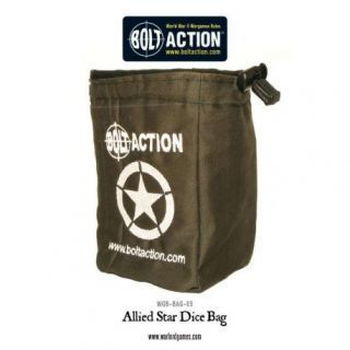 Bolt Action Allied Star Dice Bag and Order Dice (Green)