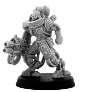 MECHANIC ADEPT BATTLE SERVITOR WITH HEAVY MELTING GUN (LM)