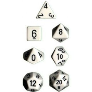 Chessex Opaque Polyhedral 7-Die Sets - White black