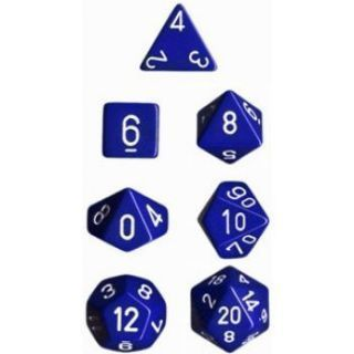 Chessex Opaque Polyhedral 7-Die Sets - Blue white