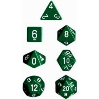 Chessex Opaque Polyhedral 7-Die Sets - Green white