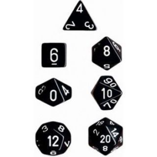 Chessex Opaque Polyhedral 7-Die Sets - Black white