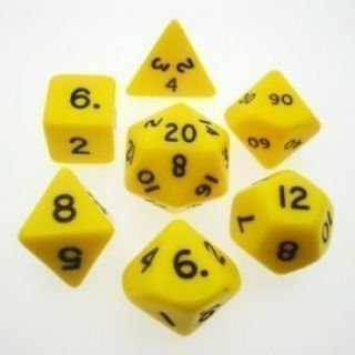 Chessex Opaque Polyhedral 7-Die Sets - Yellow black