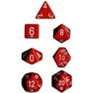 Chessex Opaque Polyhedral 7-Die Sets - Red white