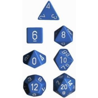 Chessex Opaque Polyhedral 7-Die Sets - Light Blue white