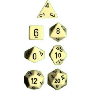 Chessex Opaque Polyhedral 7-Die Sets - Ivory black