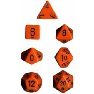 Chessex Opaque Polyhedral 7-Die Sets - Orange black