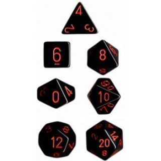 Chessex Opaque Polyhedral 7-Die Sets - Black red