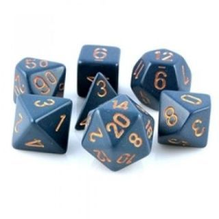 Chessex Opaque Polyhedral 7-Die Sets - Dusty Blue gold