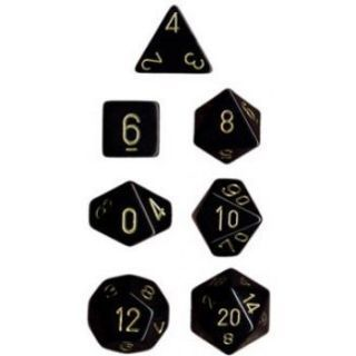 Chessex Opaque Polyhedral 7-Die Sets - Black gold