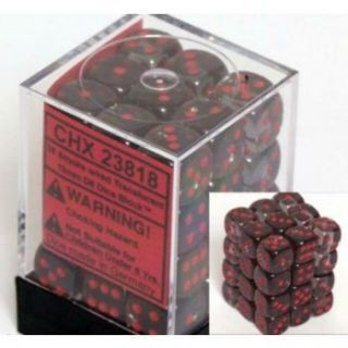 Chessex Translucent 12mm d6 with pips Dice Blocks (36 Dice) - Smoke red