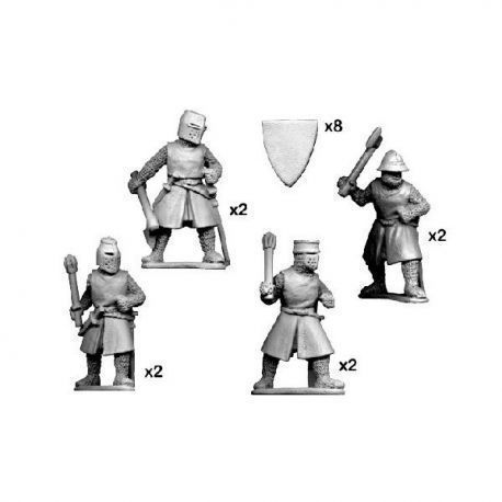 Dismounted knights with axes & maces