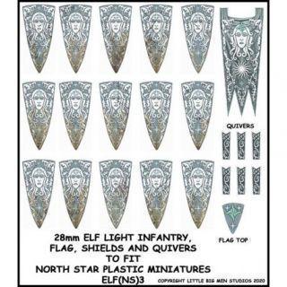 Elf Light Infantry Banner & Shields