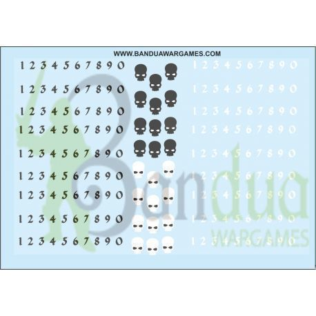 Numbers and skulls Decal Sheet