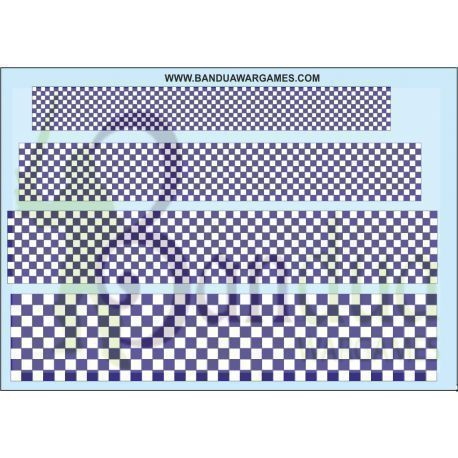 Blue white checkerboard - Various sizes - Decal Sheet