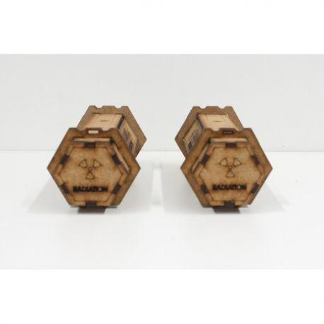 2 radioactive containers escenografía para wargames 28mm