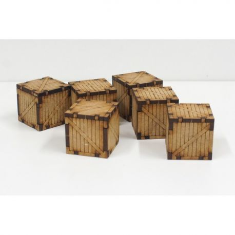 6 Small Wood Containers escenografía para wargames 28mm